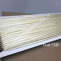 Cordón Soutache color crema, 3 mm, rollo de 30 mts