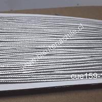 Cordón Soutache color plateado, 3 mm, rollo de 30 mts