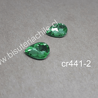 cristal verde para soutache, 10 x 14 mm, set de 2 unidades