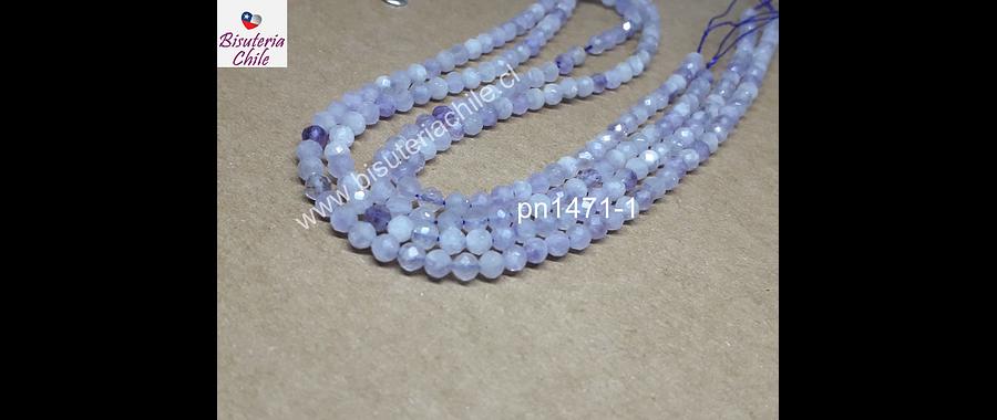 Amatista facetada clara, color lavanda, de 3 mm. tira de 110 piedras
