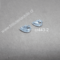 cristal transparente para soutache, 10 x 14 mm, set de 2 unidades