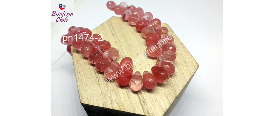 Cuarzo cherry en forma de gota, 12 mm de largo x 7 mm de ancho, set de 10 unidades