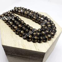 Perla de cobre con aplicaciones de vidrio color negro , 6 mm de diámetro, tira de 52 perlas aprox.
