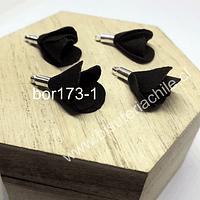 Borla en forma de flor, color negro, en base plateada, 26 mm de largo x 13 mm de ancho, ser de 4 unidades