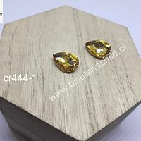 cristal amarillo dorado para soutache, 10 x 14 mm, set de 2 unidades