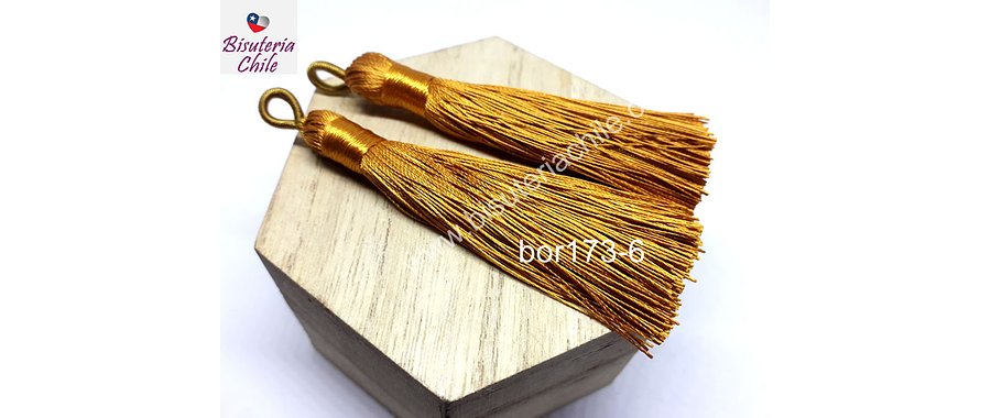 Borla gruesa 1 era calidad, de hilo de seda color mostaza, 7 cm de largo, set de 2 unidades