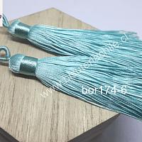 Borla gruesa 1 era calidad, de hilo de seda color verde agua, 7 cm de largo, set de 2 unidades