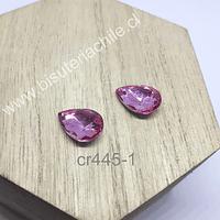 cristal rosado  para soutache, 10 x 14 mm, set de 2 unidades
