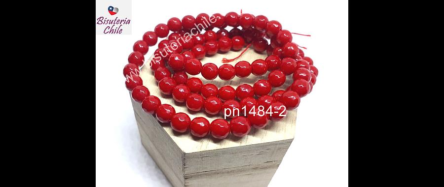 Agatas, Piedra Agata de 8 mm en tono rojo, tira de 46 piedras aprox