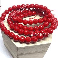 Piedra Agata de 8 mm en tono rojo, tira de 46 piedras aprox