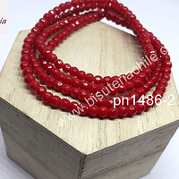 Agata de 4 mm en tono rojo, tira de 100  piedras aprox.