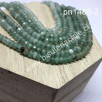 Agata rondell color verde jade de 4 mm, tira de 130 piedras aprox