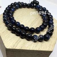 Ojo de tigre azul de 6 mm, tira de 28 piedras
