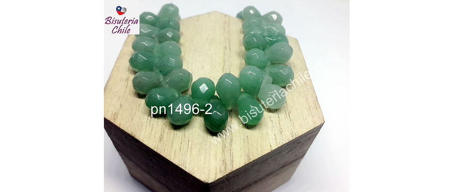 Jade en forma de gota, 12 mm de largo x 7 mm de ancho, set de 10 unidades