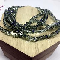 Cristal facetado de 4 mm color verde y y tonalidades azules, tira de 150 unidades aprox