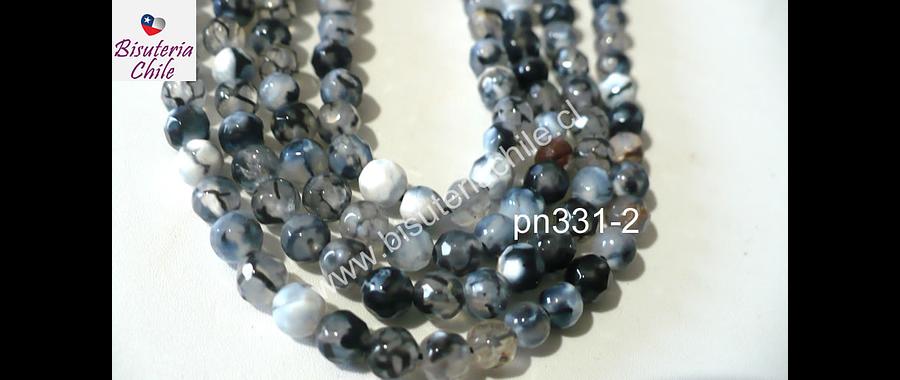 Agata 4 mm, en tonos negros y blancos , tira de 90 piedras aprox