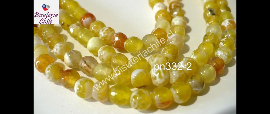 Agata de 6 mm en tonos amarillos, tira de 62 piedras aprox