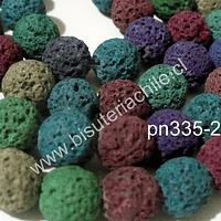 Piedra volcánica de 10 mm, multicolor, tira de 45 piedras aprox