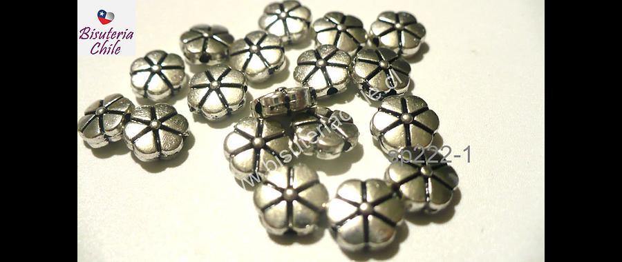 Separador plateado en forma de flor, 8 mm de diámetro, set de 18 unidades