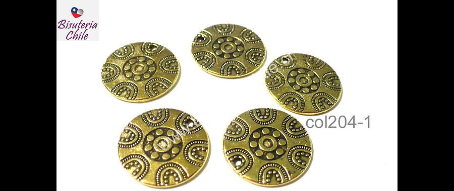 Colgante con diseño dorado, 19 mm de diámetro, set de 5 unidades