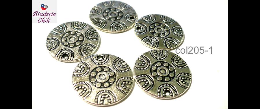 Colgante con diseño plateado, 19 mm de diámetro, set de 5 unidades