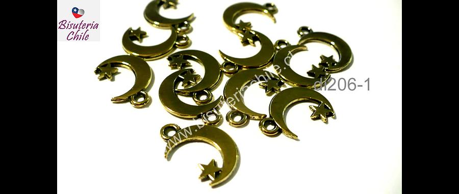 Dije dorado en forma de luna, 13 mm de alto por 10 mm de ancho, set de 12 unnidades