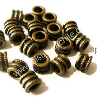 Separador envejecido, 4 mm de alto por 5 mm de ancho, agujero de 3 mm, set de 17 unidades
