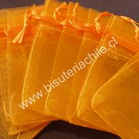 Bolsa de organza naranja, 9 x 12 , set de 10 unidades