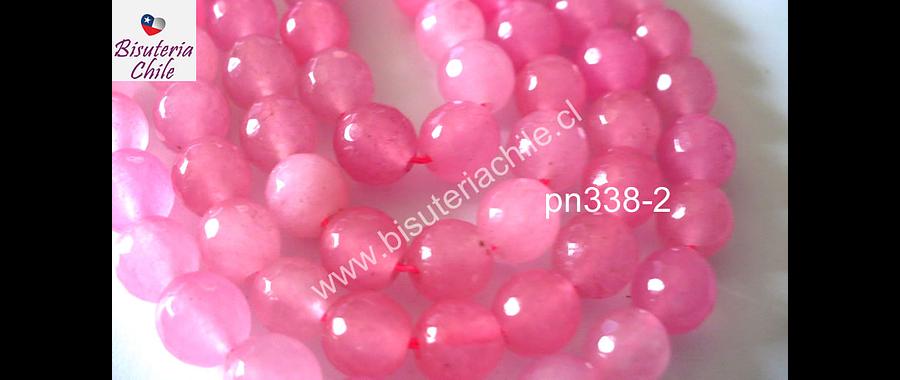 Agata rosada facetada de 8 mm, tira de 48 piedras aprox