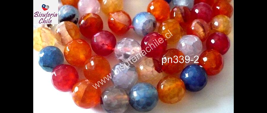 Agata multicolor en tonos naranjos, rojos y azules facetada de 8 mm, tira de 48 piedras aprox
