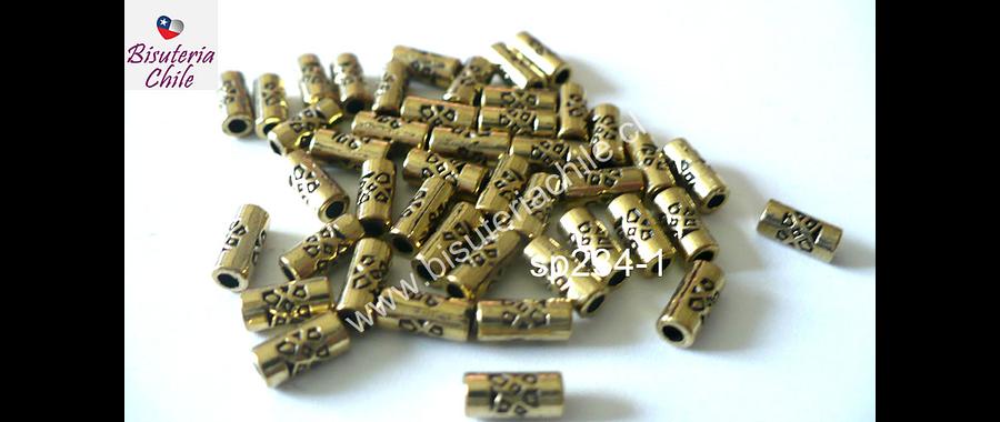 Separador dorado, 7 mm de largo,  3 mm de largo, agujero de 2 mm, set de 44 unidades aprox
