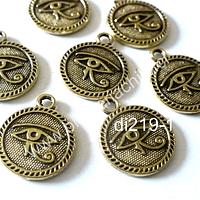 Dije en forma de ojo de orus dorado, 15 mm de diámetro, set de 7 unidades