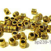Separador dorado con diseño, 4 mm de largo por 4 mm de ancho, agujero de 2 mm, set de 38 unidades