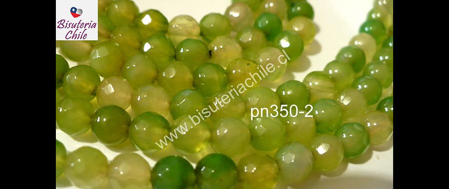 Agata 6 mm en tonos verdes, tira de 63 piedras aprox