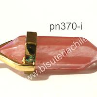 Dije de cuarzo en base dorado, 37 mm de largo con el colrgante y 10 mm de ancho