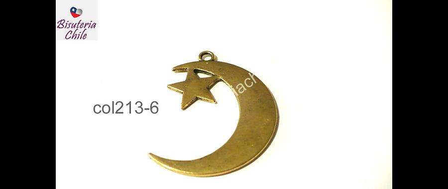 Colgante dorado luna con estrella colgante, 40 mm de largo por 33 mm de ancho por unidad