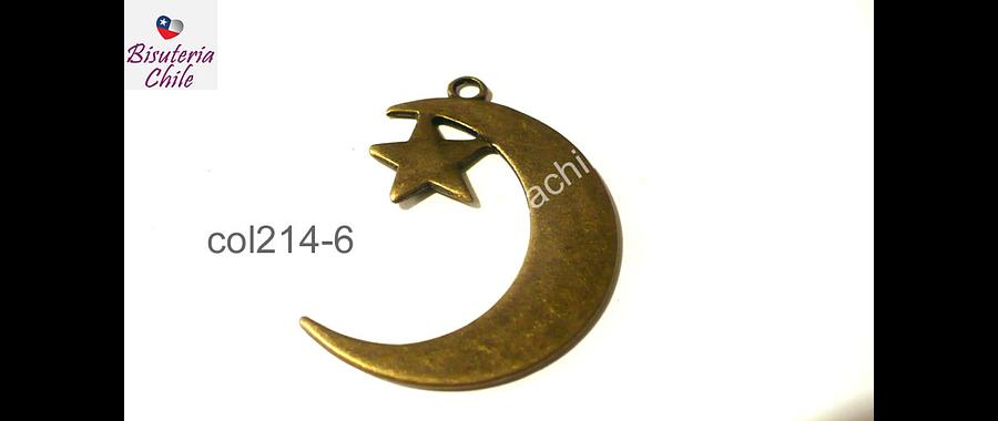 Colgante envejecido luna con estrella colgante, 40 mm de largo por 33 mm de ancho por unidad