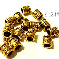 Separador dorado con diseño, 6 mm de largo, por 6 mm de ancho, agujero de 4 mm, set de 15 unidades