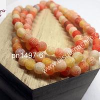 Agatas, Agata frosting de 6 mm, naranja, tira de 64 piedras aprox