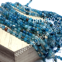 Agata de 4 mm en tonos azules, tira de 92 piedras