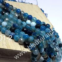 Agata facetada de 6 mm, en tonos azules, tira de 63 piedras aprox
