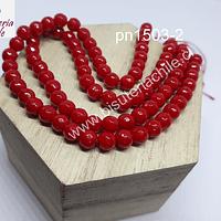 Agata facetada color rojo de 6 mm, tira de 65 piedras aprox