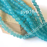 Perla de vidrio en color celeste, de 8 mm, tira de 100 unidades aprox.