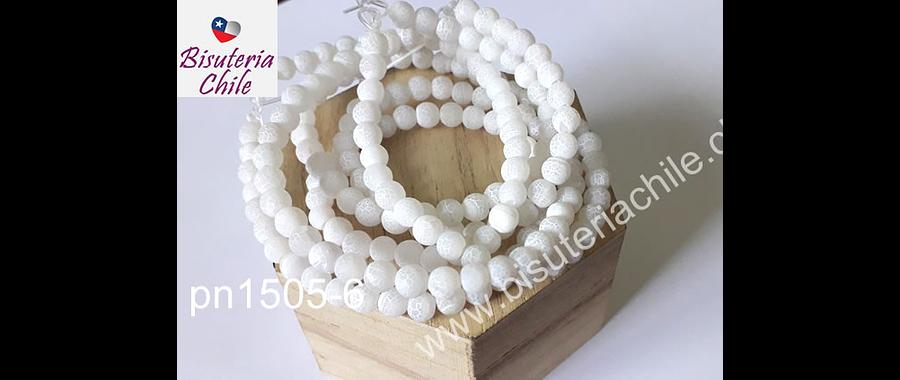 Agatas, Agata frosting de 6 mm, blanca, tira de 64 piedras aprox