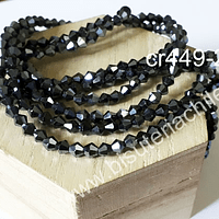 Cristal tupi 4 mm, color negro, tira de 75 cristales