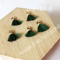 Borla mini verde, 13 mm de largo, set de 5 unidades
