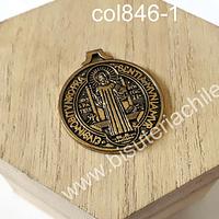 Colgante dorado, san benito, 32 mm de diámetro, por unidad