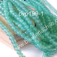 Perla de vidrio en color jade, de 8 mm, tira de 100 unidades aprox.