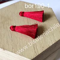 Borla de seda color rojo italiano, 26 mm de largo , por par