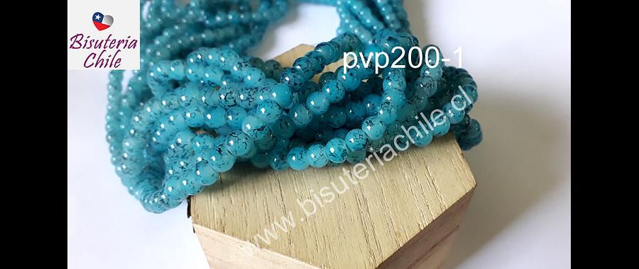 Perla de vidrio 6 mm color celeste matizado, tira de 138 piedras aprox